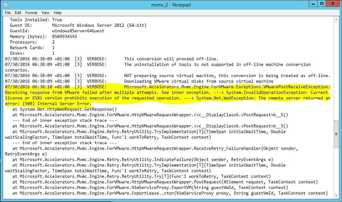 Migrating Virtual Machines from a free version of ESX to Hyper-V